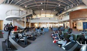 The Rec Center features an indoor track, cardio equipment, aerobics room, multi-purpose gym, and weight room