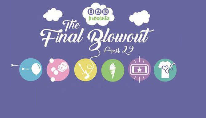 Celebrate the end of the school year with music, food, games, t-shirt decorating and more at SAB's Final Blowout event April 29