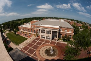 View of Student Union Building and fountain on the Mall at Truman State University