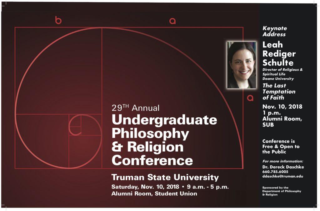 2018 Philosophy & Religion Undergraduate Conference poster