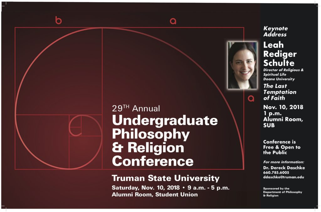 2018 Philosophy & Religion Undergraduate Conference poster