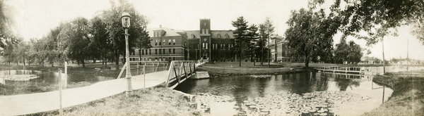 The lake in front of old Baldwin Hall