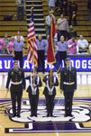 Color Guard presenting the U.S. Flag at a Truman Sporting event