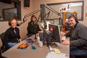 Students working in Truman's radio station