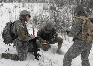 Students participating in a lab in the snow