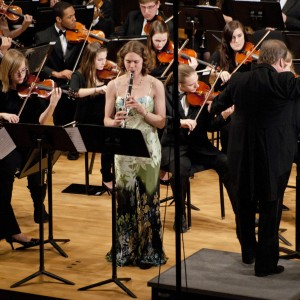 Junior Kayla Smalley soloing with the university orchestra as a winner of the Truman concerto competition