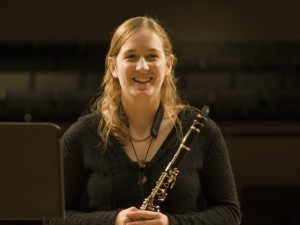 Clarinetist Becky Harman performing in studio class
