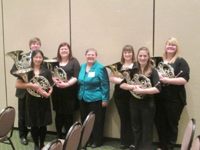 Wind Symphony Horn Section after their performance at the 2013 MMEA conference with Professor Mickey