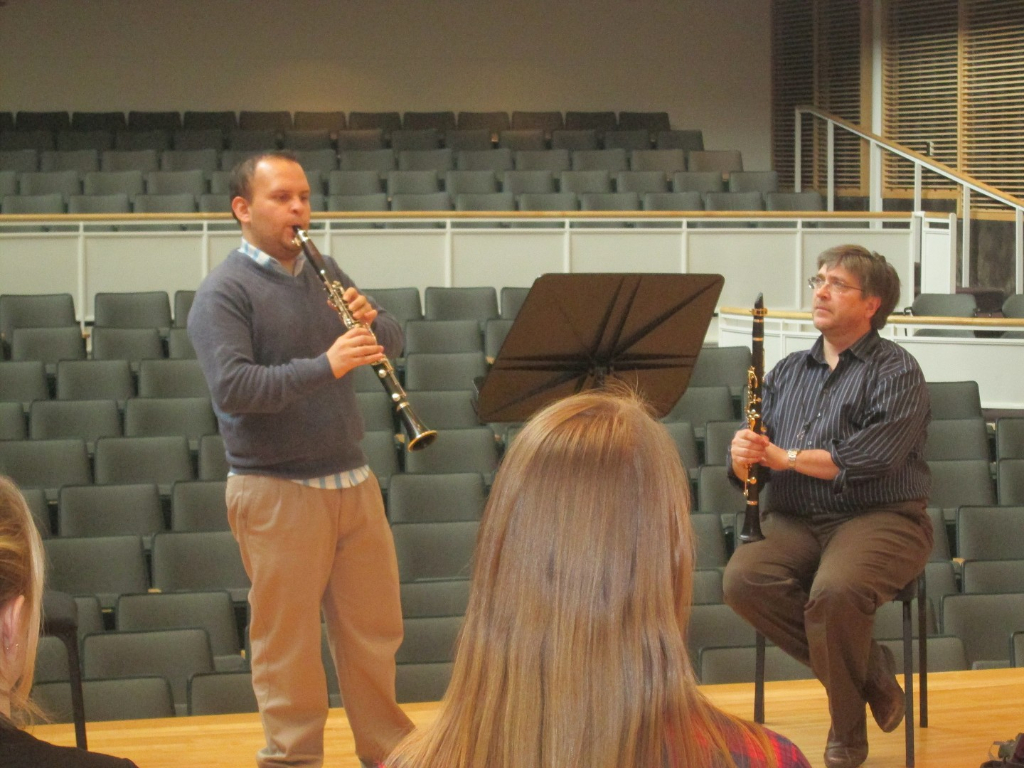 Costa Rican graduate student Luis Viquez performing in a master class with guest artist Bil Jackson
