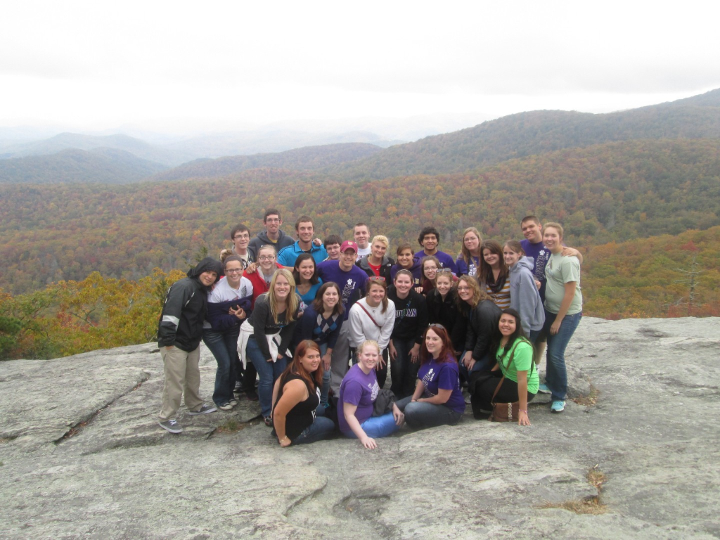 Truman Clarinet Choir hiking in the mountains of North Carolina