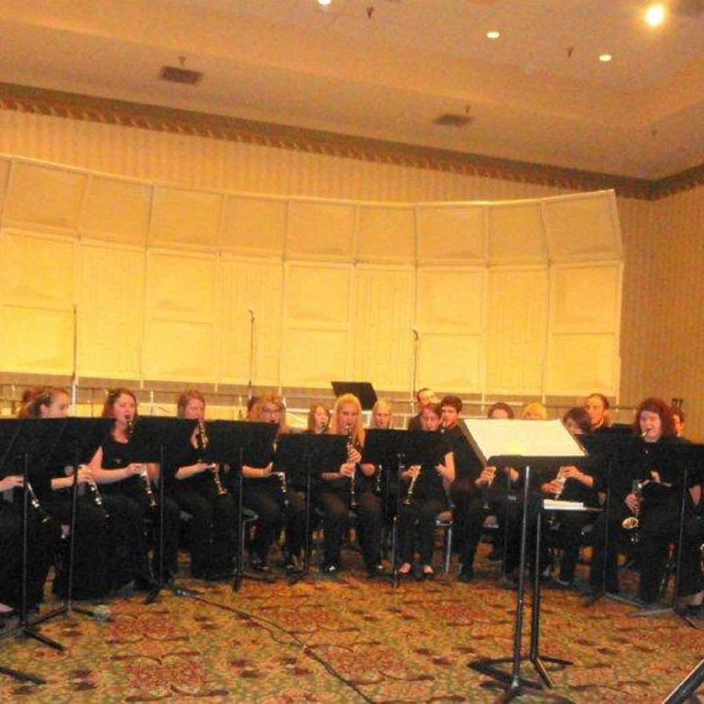Truman Clarinet Choir warming up before their performance at the 2012 MMEA Conference