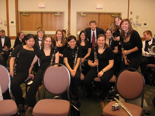 Clarinet section of the Truman Wind Symphony before their 2009 MMEA performance