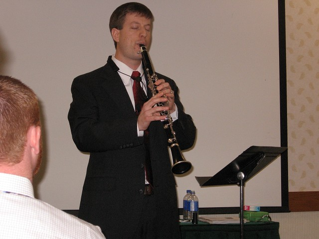 Dr. Krebs presenting a clinic on teaching clarinet at the 2009 MMEA conference