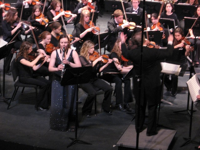 Junior Erin Miesner soloing with the university orchestra as a winner of the Truman concerto competition