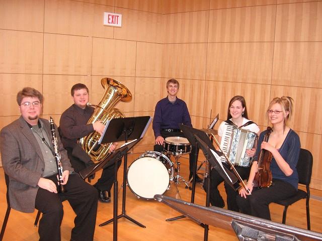 Senior clarinetist Ken Goss performing with a Truman Klezmer ensemble