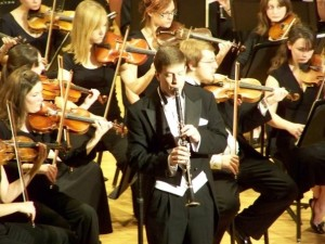 Dr. Krebs performing a clarinet concerto with the Truman Orchestra