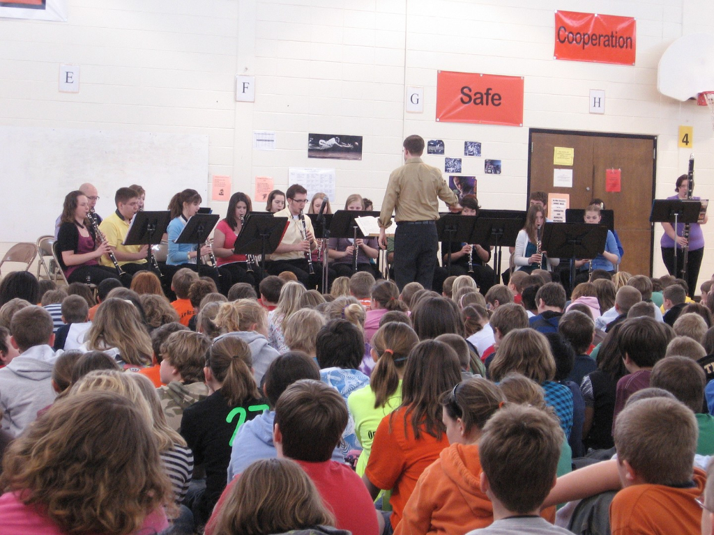 Truman Clarinet Choir performing an outreach concert at Ray Miller Elementary School