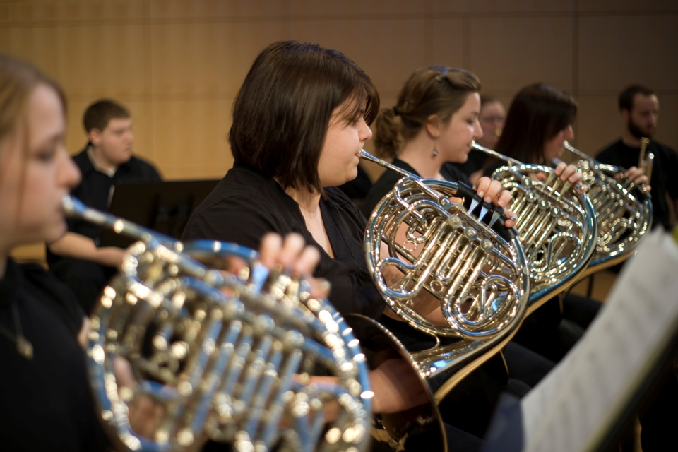 French horns in rehearsal with Brass Choir