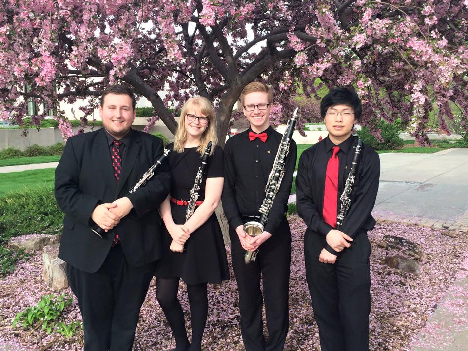 The Truman Clarinet Quartet after performing at Midwest ClariFest