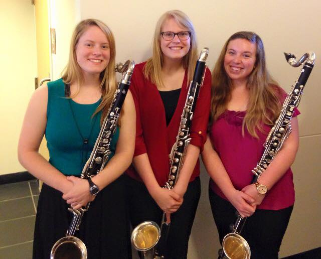 Truman bass clarinetists after a Wind Symphony concert