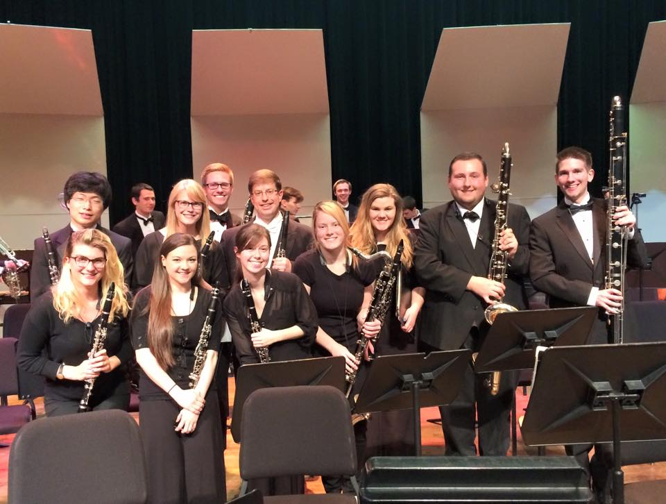 Wind Symphony clarinetists with Dr. Krebs after his concerto performance