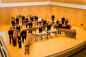 Percussion group on a stage