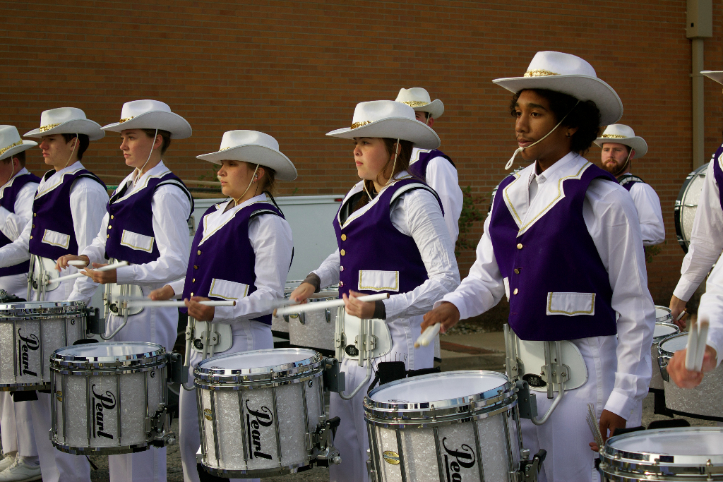 The Statesmen marching band drumline
