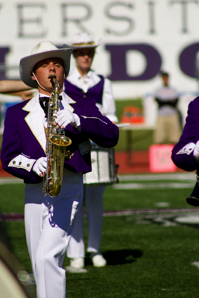 A saxophone player in the Statesmen marching band