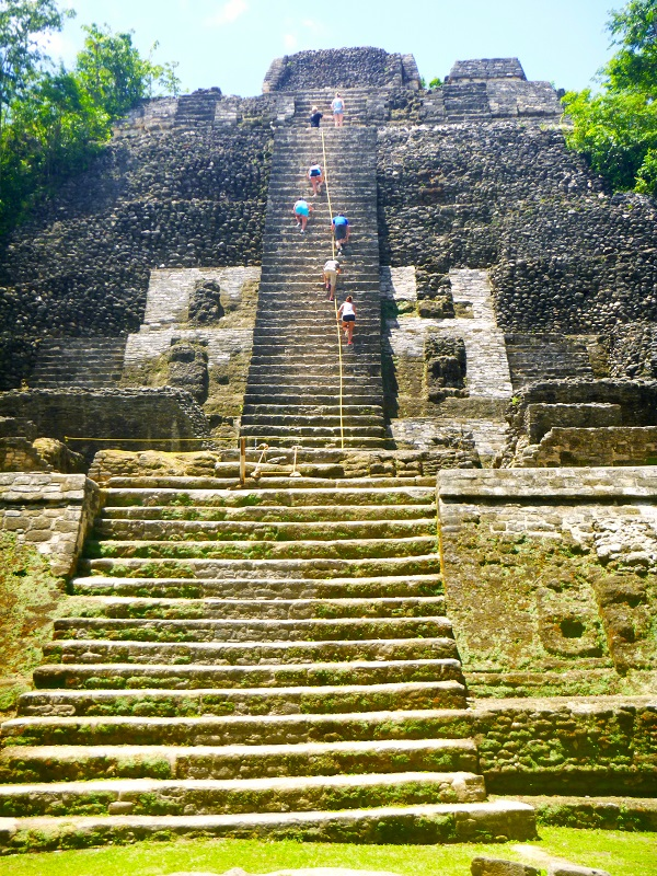 Students Climbing the High Temple in Belize