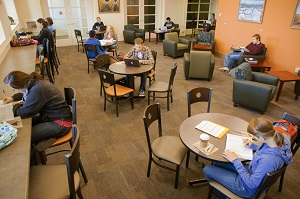 Students can study or kick back and relax in Jazzman's Cafe in Pickler Memorial Library.