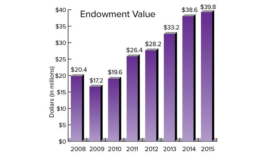 Endowment values for Truman State University Foundation