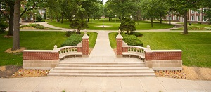 The gated entrance at the north end of the Quad is an exact replica of the original campus gates.