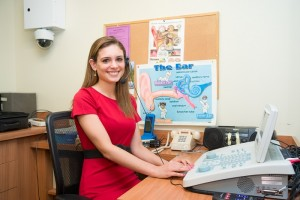 Sara Hahn working in the Speech and Hearing Clinic at Truman State University