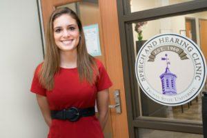 Sara Hahn at the Speech and Hearing Clinic at Truman State University