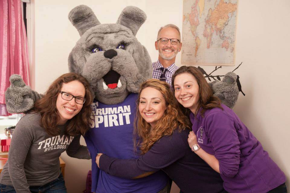 Spirit Day - Spike, President Paino and Truman students celebrating Spirit Day on April 3, 2015