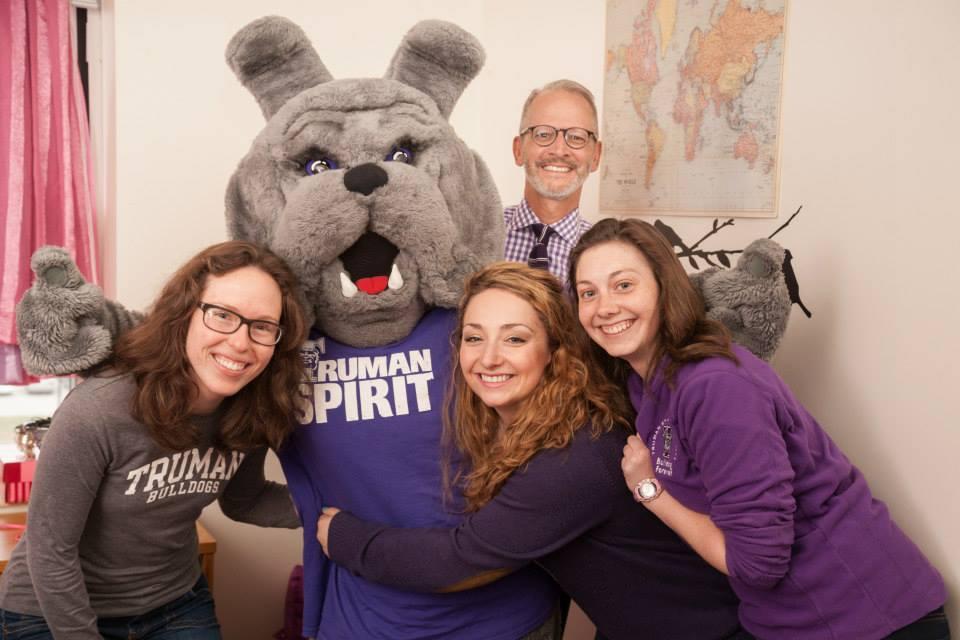 Spirit Day - Spike, President Paino and Truman students celebrating Spirit Day on April 3, 2015