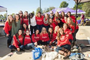 Some members of Cardinal Key at Homecoming Tailgate