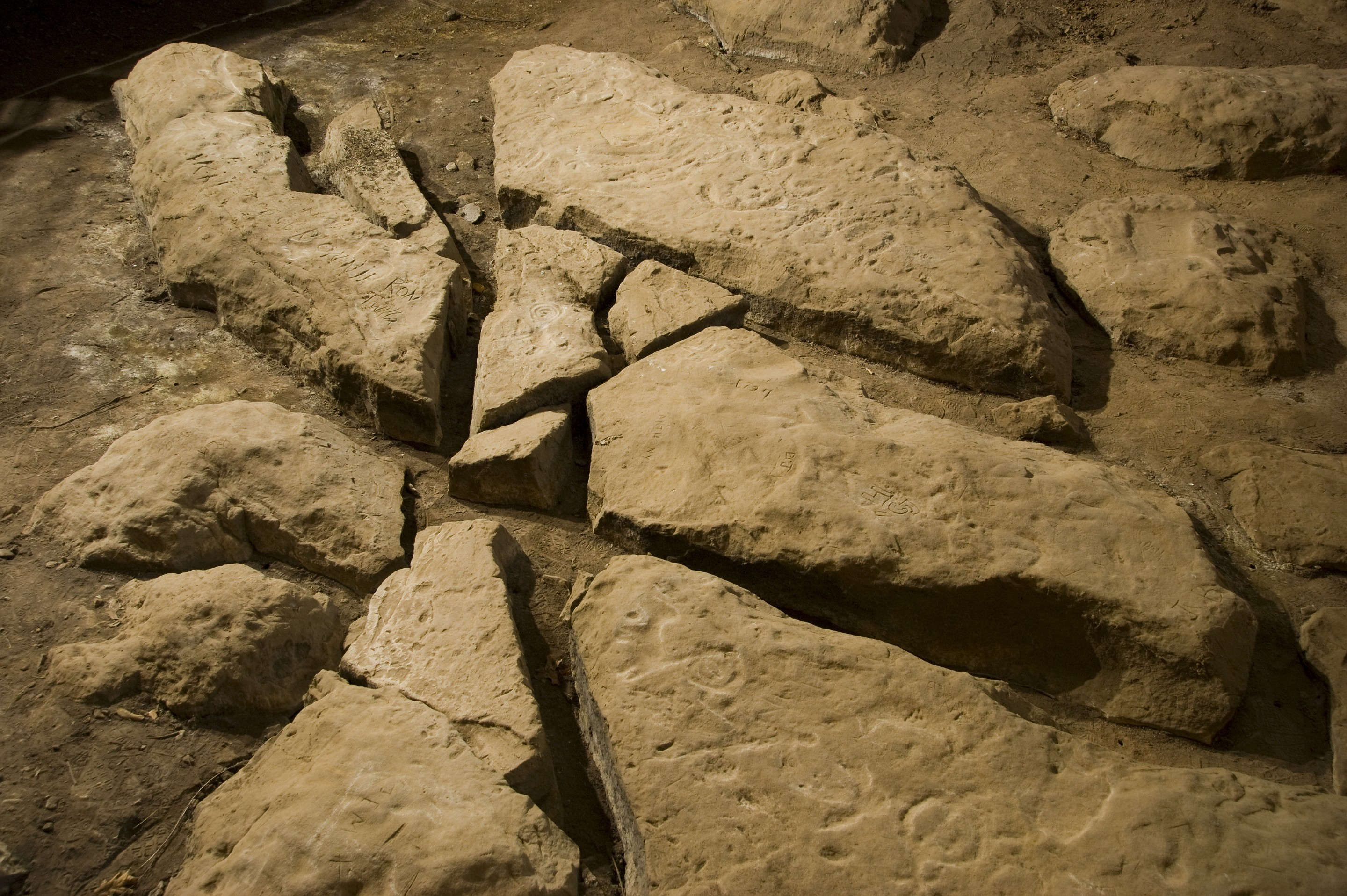 Explore Native American rock carvings at Thousand Hills State Park