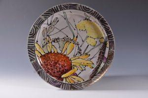 Wynne Wilbur, Flower, 2017, Majolica on terracotta, slip