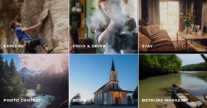 Photos collage: Rock climbing, cooking, Living room, moutain scene, church, canoe in a river