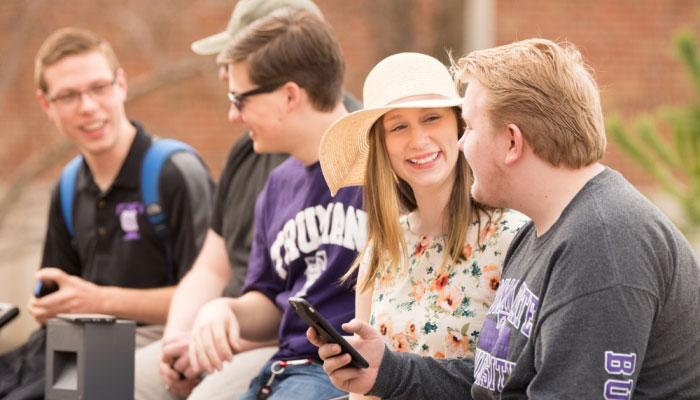 Students enjoying sunny weather
