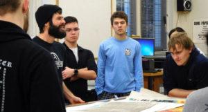 Josh Winkler, internationally exhibiting artist and printmaking sharing his work with Printmaking class