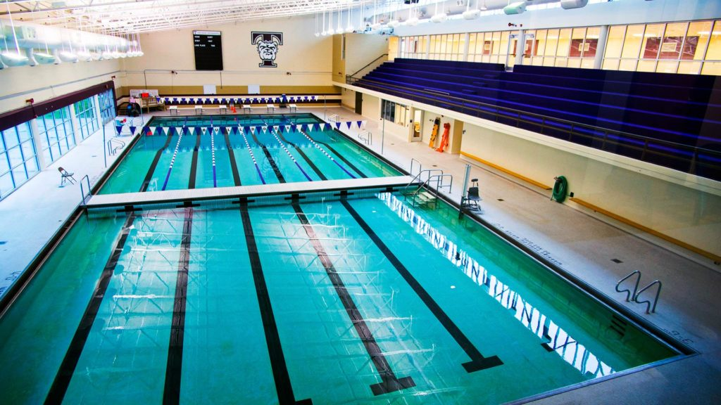 Courses conducted in the swimming pool range from basic swimming to American Red Cross Lifeguard Training to CPR for the Professional Rescuer