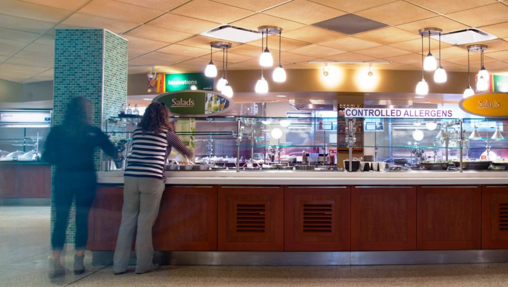 Salad bar in residence hall dining room