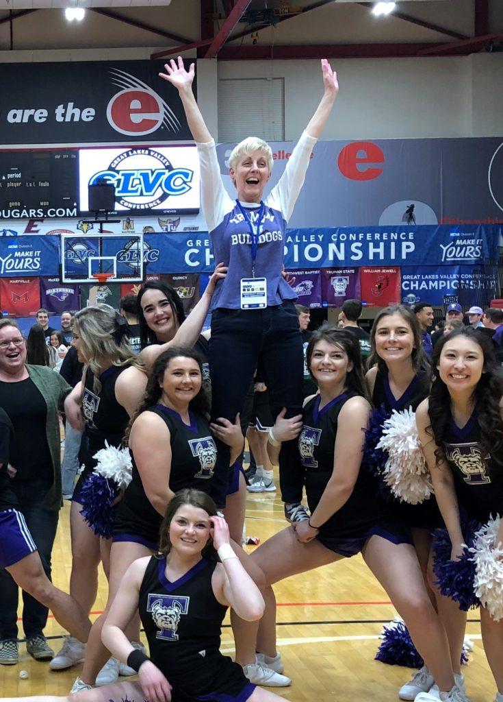 President Sue Thomas with the Truman cheerleaders