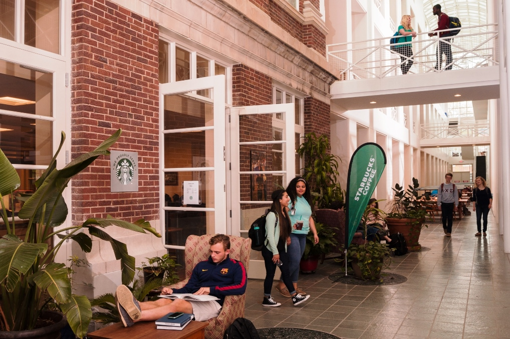 Starbucks is located on the main level in Pickler Memorial Library