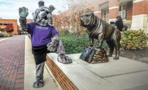 Spike, Truman's mascot and a bronze statue of a Bulldog on the Truman campus