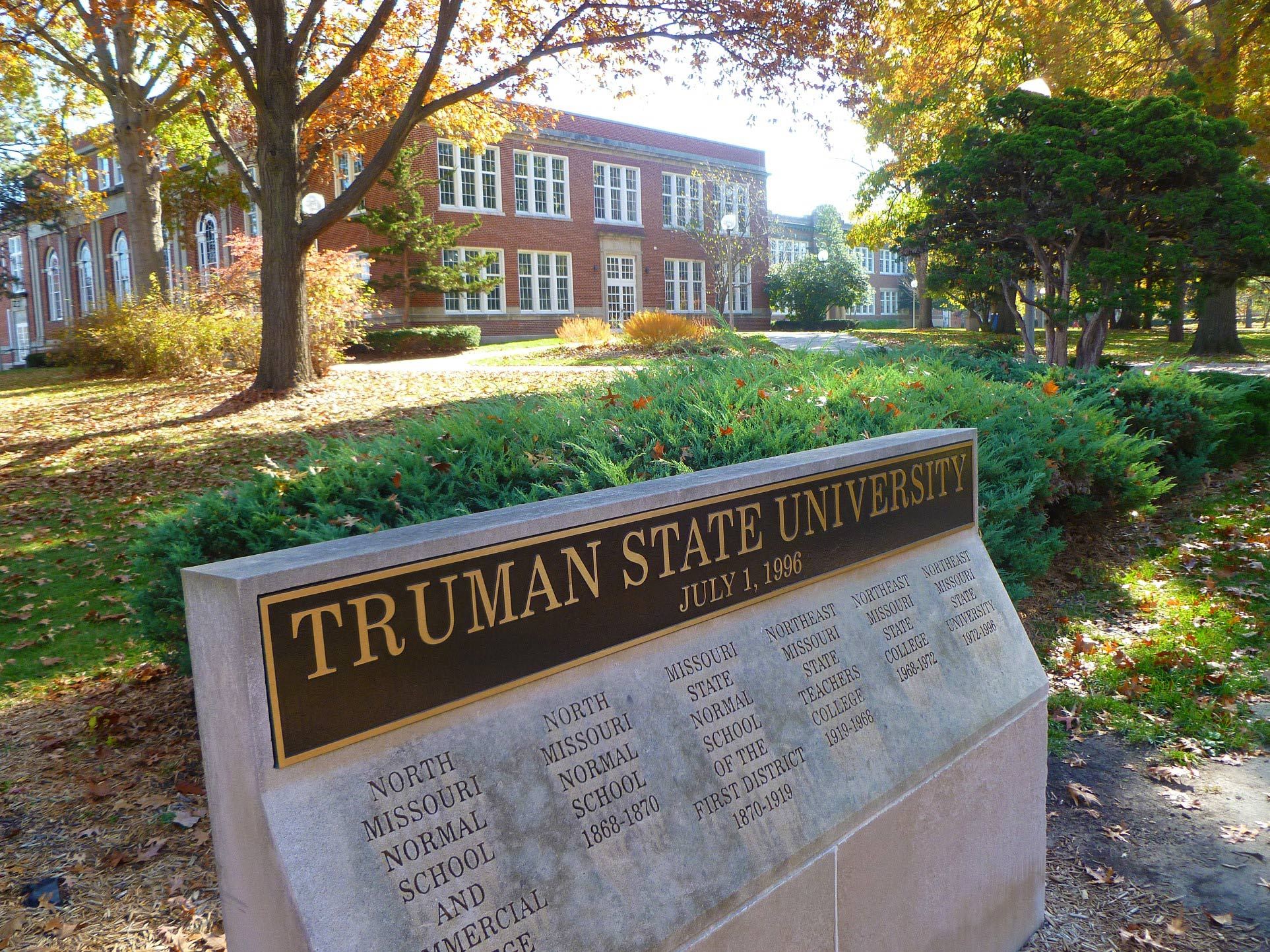 Sign with former names of Truman State University