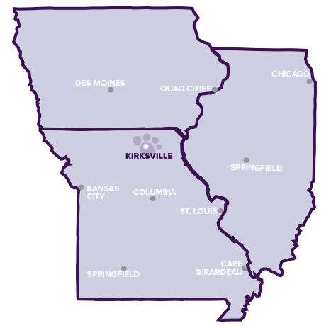 Map of cities near Truman State University