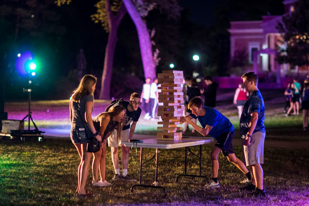 Students at the Ice Cream Social on the Quad during Truman Week